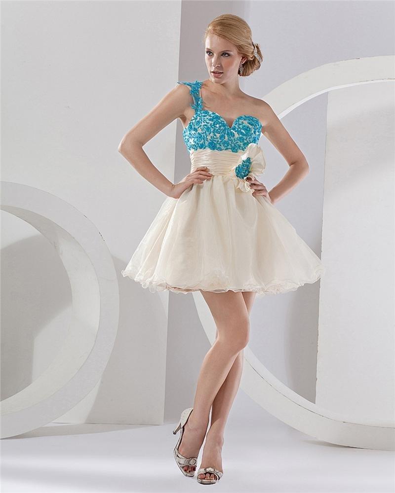 One Shoulder Applique Organza Thigh Length Graduation Dresses