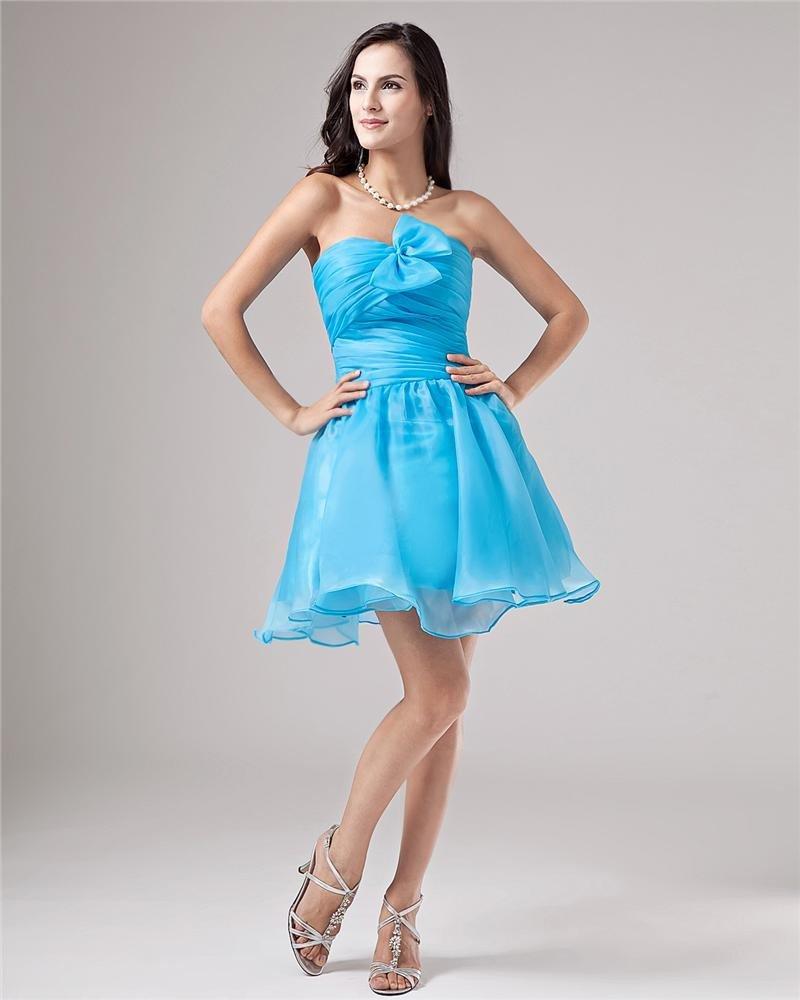 Yarn Strapless Beading Ruffle Thigh Length Graduation Dresses