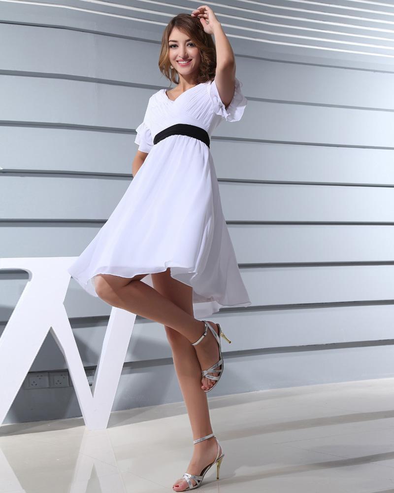 Fashion Chiffon Satin Silk Pleated V Neck Short Sleeve Thigh Length Graduation Dress