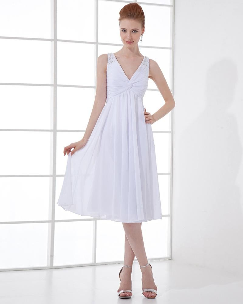 Fashion Chiffon Pleated Beaded V Neck Tea Length Graduation Dress