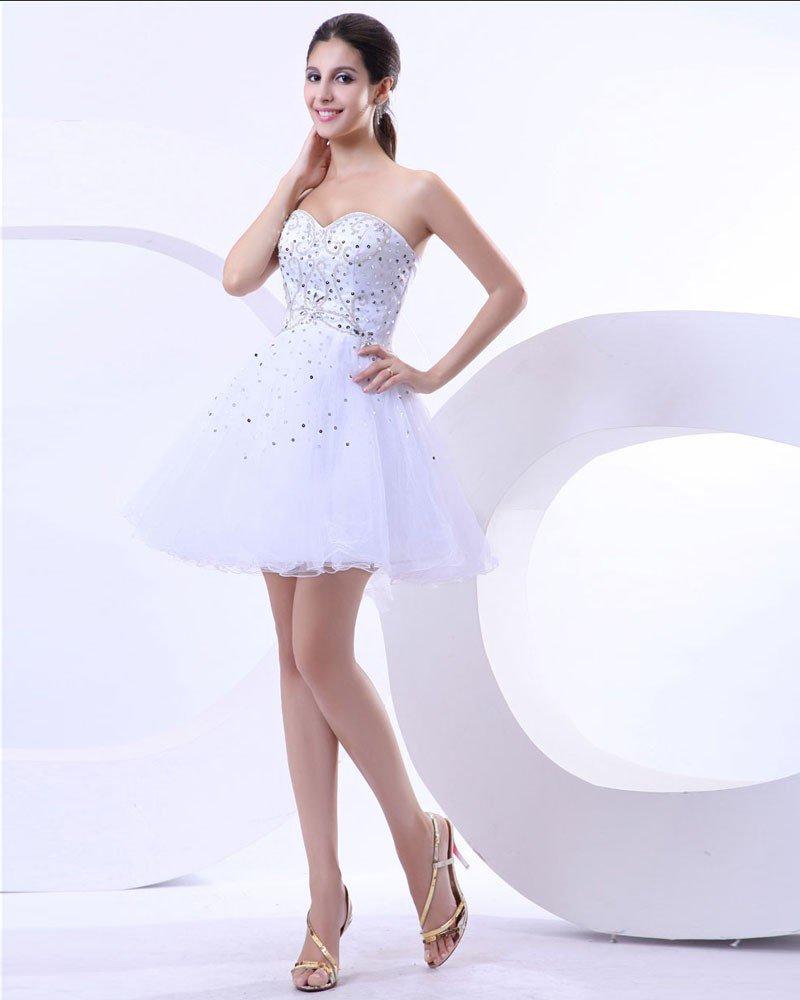 Empire Satin Yarn Beading Sweetheart Mini Graduation Party Dresses