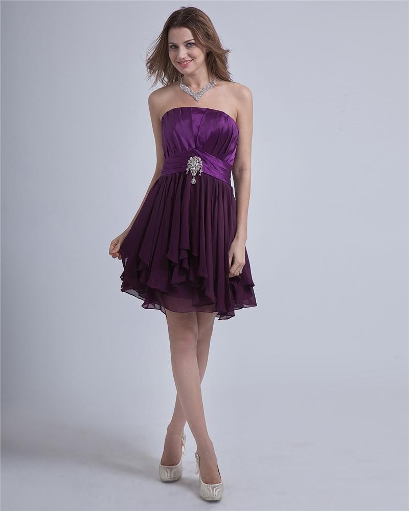 Charmeuse Chiffon Ruffle Strapless Knee-Length Graduation Dress