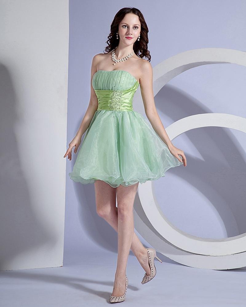 A Line Strapless Organza Short Mini Homecoming Dress