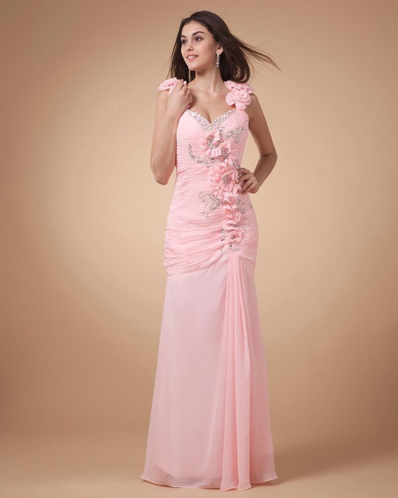 Chiffon Beading Pleated Shoulder Strap Floor Length Graduation Dress