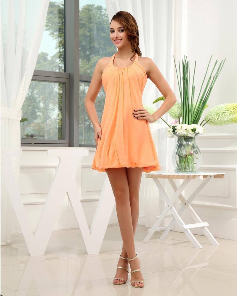 Silk Chiffon Silk Like Satin Halter Sleeveless Backless Pleated Mini Graduation Dress