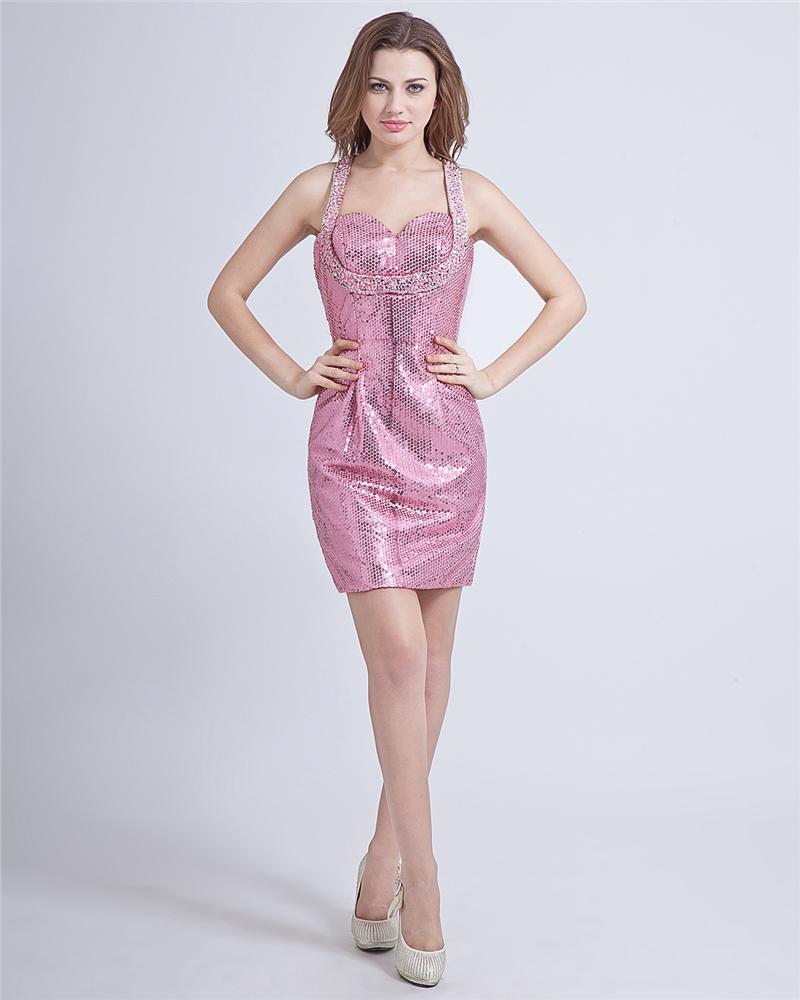 Sexy Sheath Sequin Halter Mini Graduation Dresses