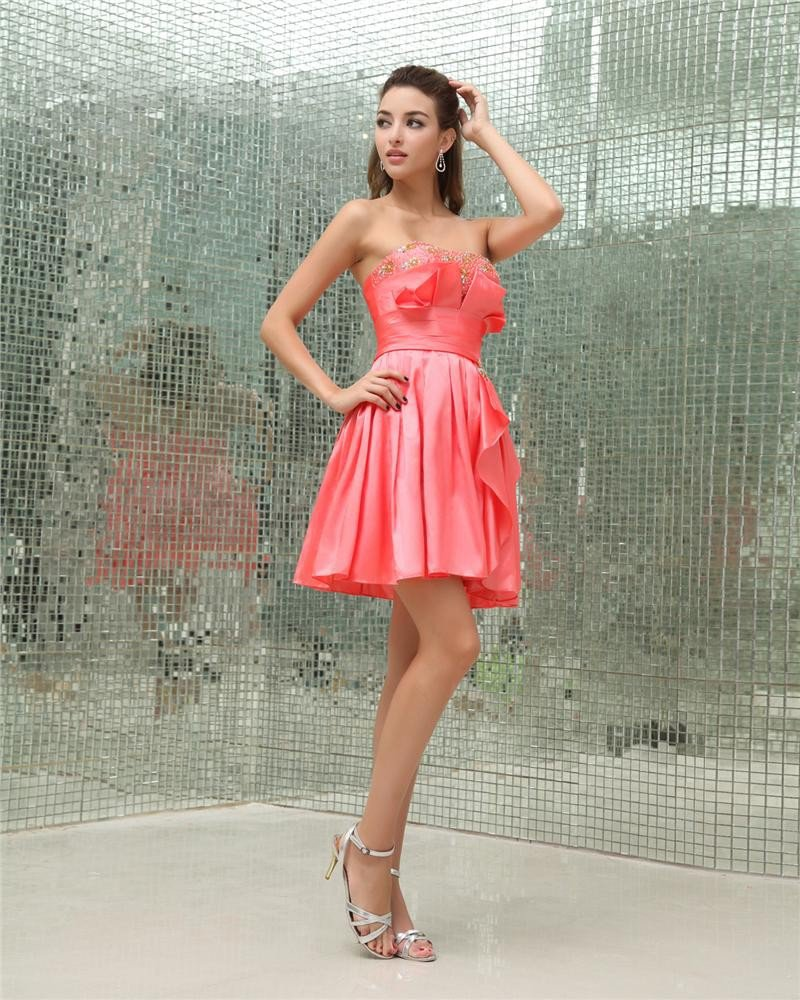 Strapless Ruffle Beading Sleeveless Zipper Mini Length Charmeuse Woman Homecoming Dresses