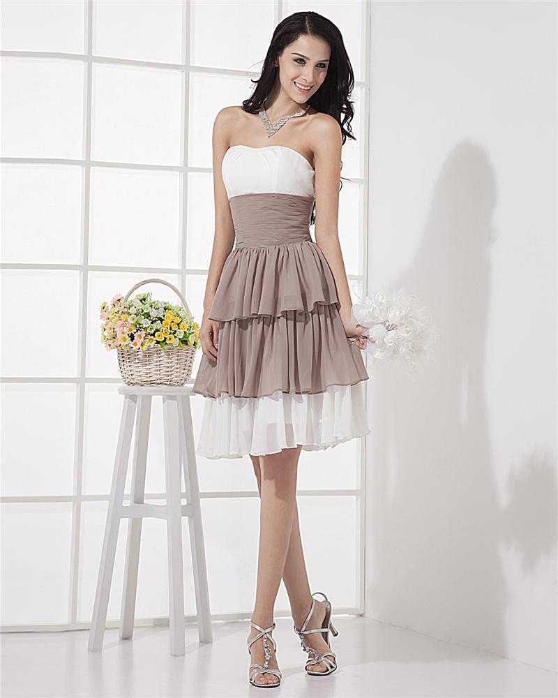 Lovely Strapless Short Mini Ruffles Graduation Dresses