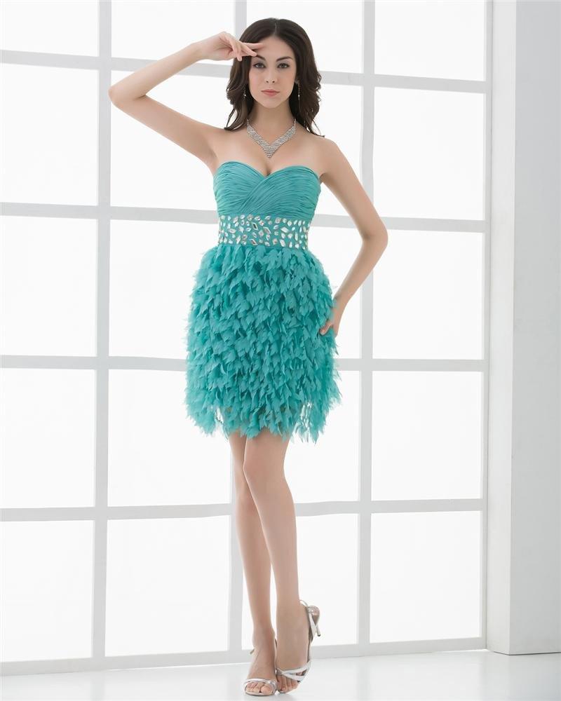 Fashion Chiffon Pleated Beading Sweetheart Thigh Length Graduation Dress