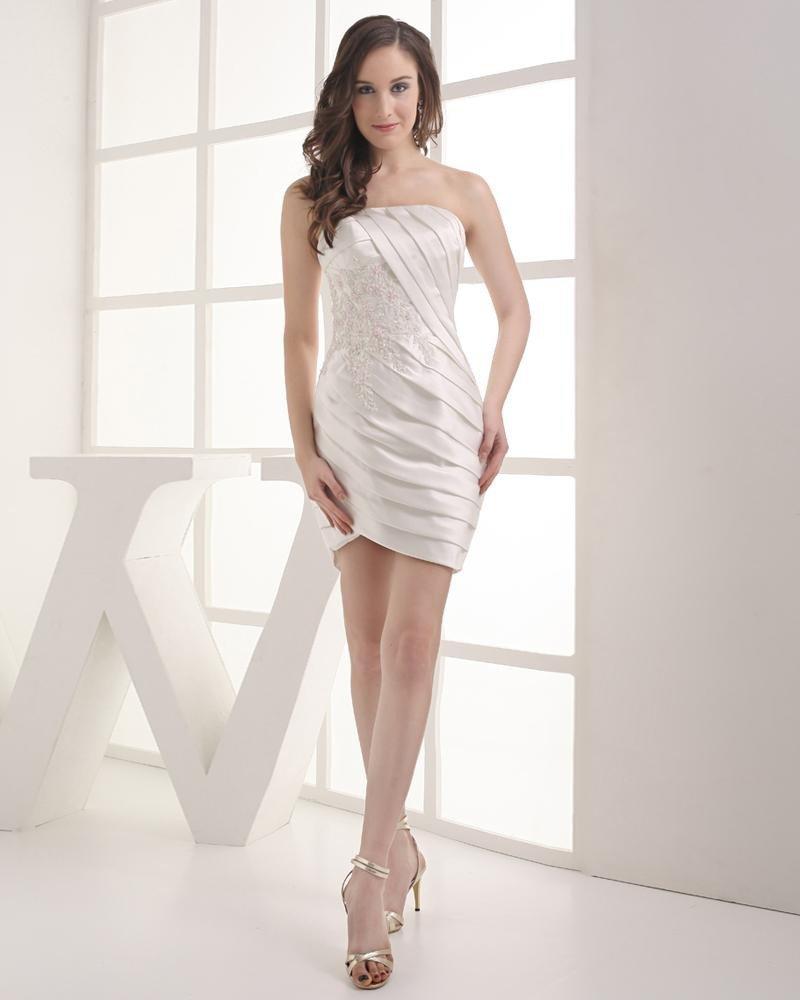 Strapless Beading Pleated Applique Mini Length Satin Woman Graduation Dress