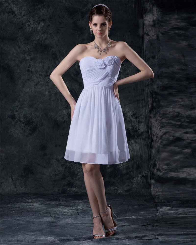 Chiffon Flower Ruffle Strapless Thigh Length Graduation Dresses