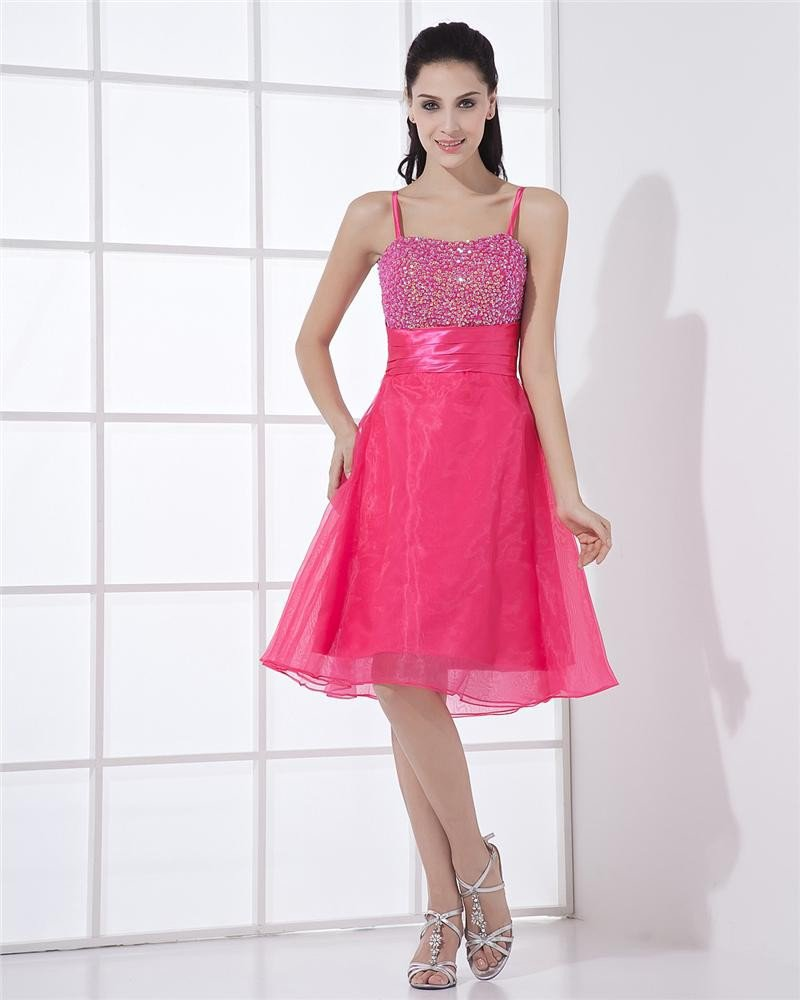 Organza Sequins Spaghetti Straps Sleeveless Zipper Knee Length Pleated Homecoming Dress