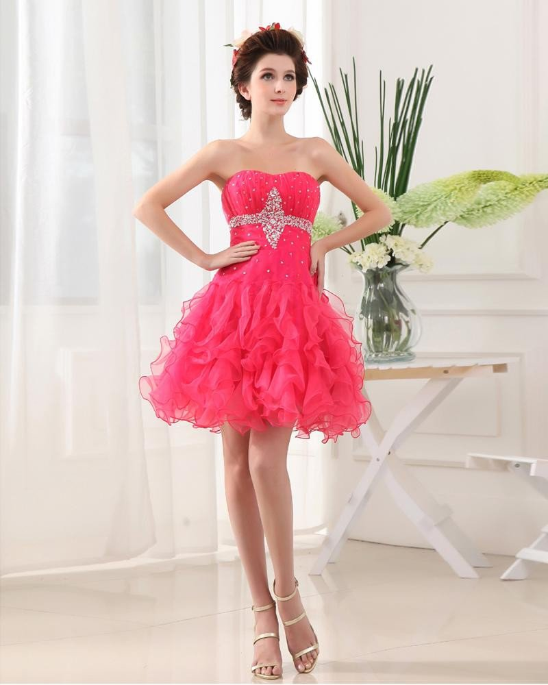 Organza Satin Silk Beading Sweetheart Sleeveless Backless Zipper Mini Pleated Homecoming Dress