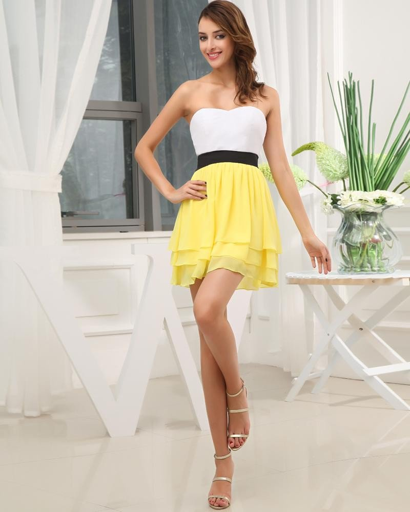 Fashion Chiffon Silk Like Satin Sweetheart Sleeveless Thigh Length Graduation Dress