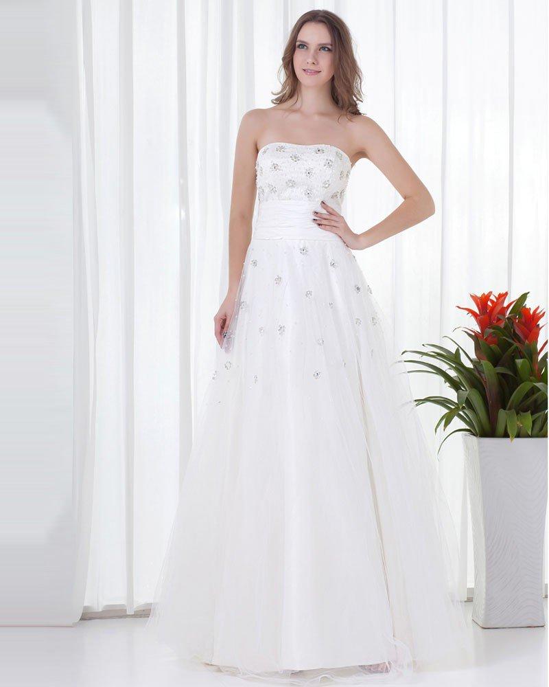 Elegant Strapless Beading Floor Length Tulle Graduation Dress