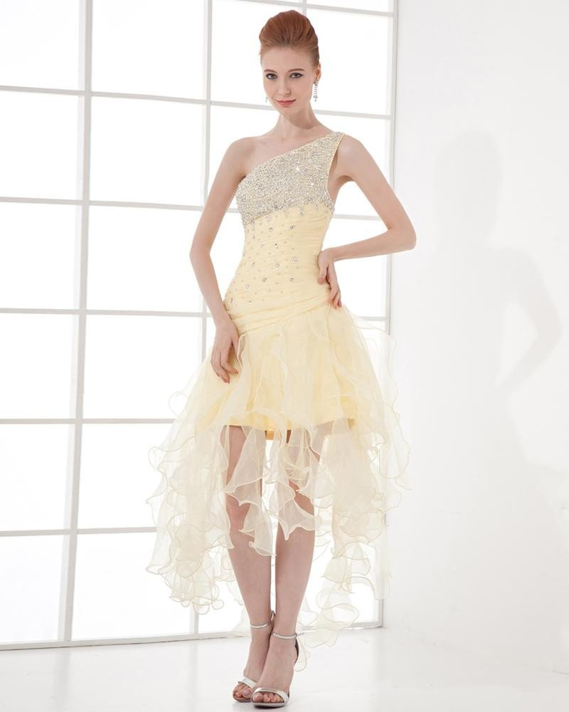 Fashion Chiffon Pleated Beaded Sloping Asymmetrical Homecoming Dress