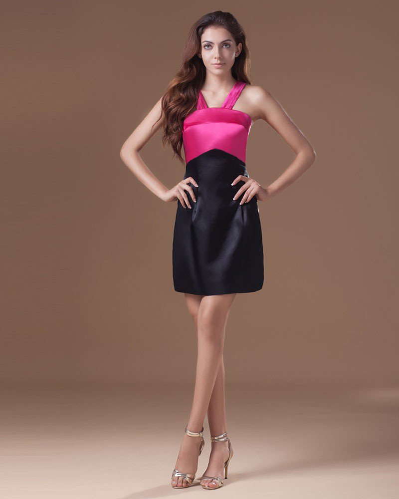 Satin Mini Shoulder Straps Women Graduation Dress