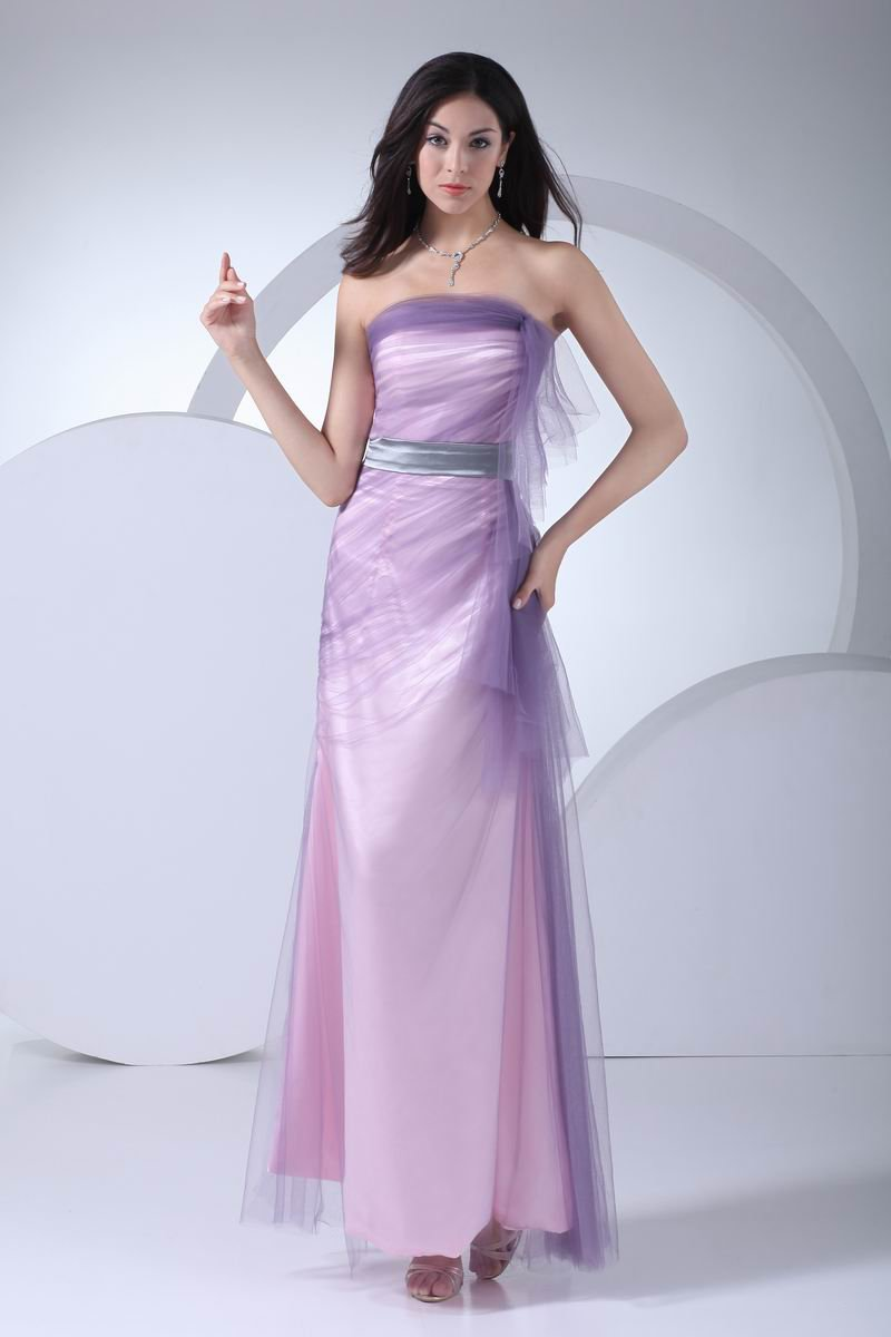 Fashion Tulle Silk like Satin Beading Strapless Ankle Length Graduation Dress