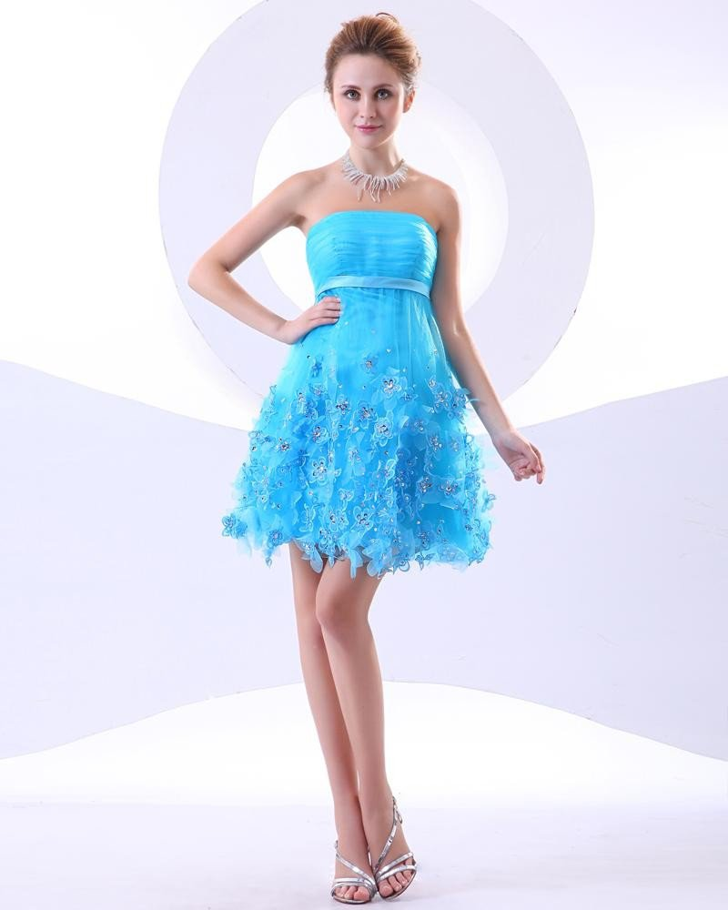 Organza Ruffle Applique Strapless Thigh Length Cheap Homecoming Dresses