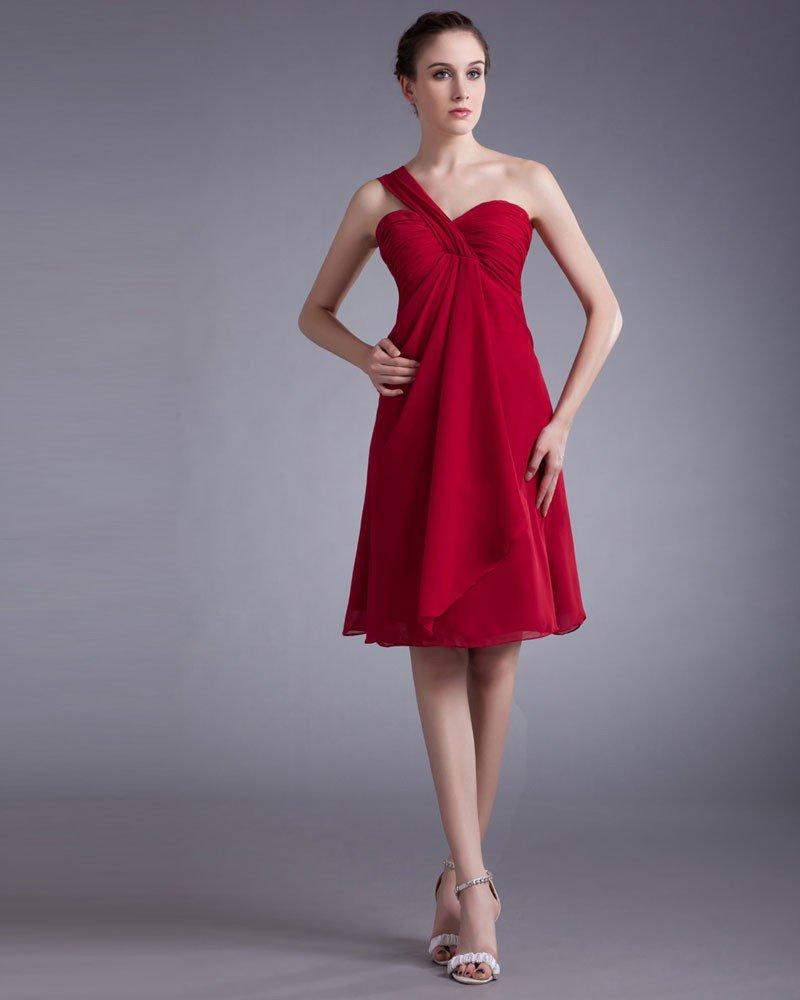 Chiffon Knee Length Ruffle One Shoulder Pleated Women Graduation Dress