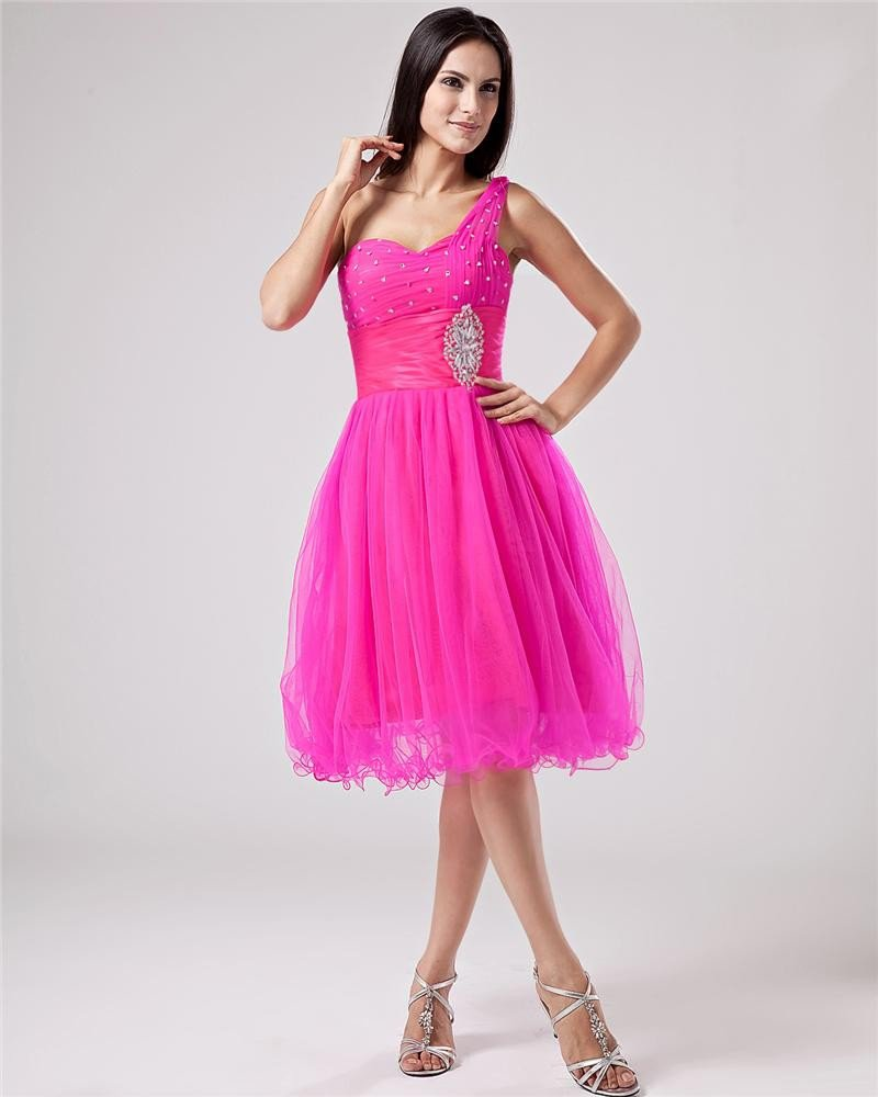 Tulle Charmeuse Beading Pleat One Shoulder MIni Graduation Dresses