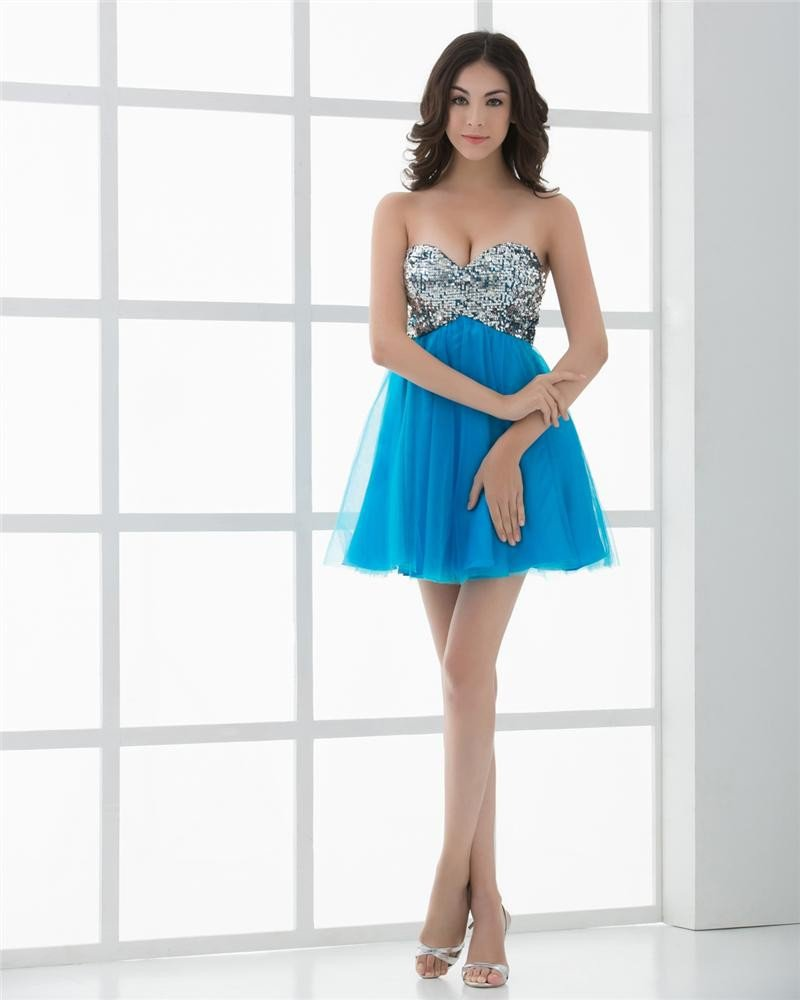 Sweetheart Paillette Tulle Mini Length Woman Homecoming Dresses
