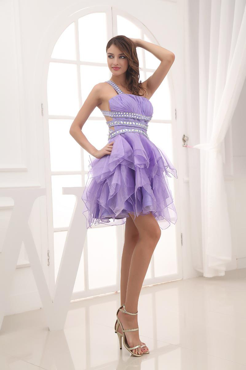 Fashion Yarn Satin Silk Pleated One Shoulder Sleeveless Thigh Length Graduation Dress