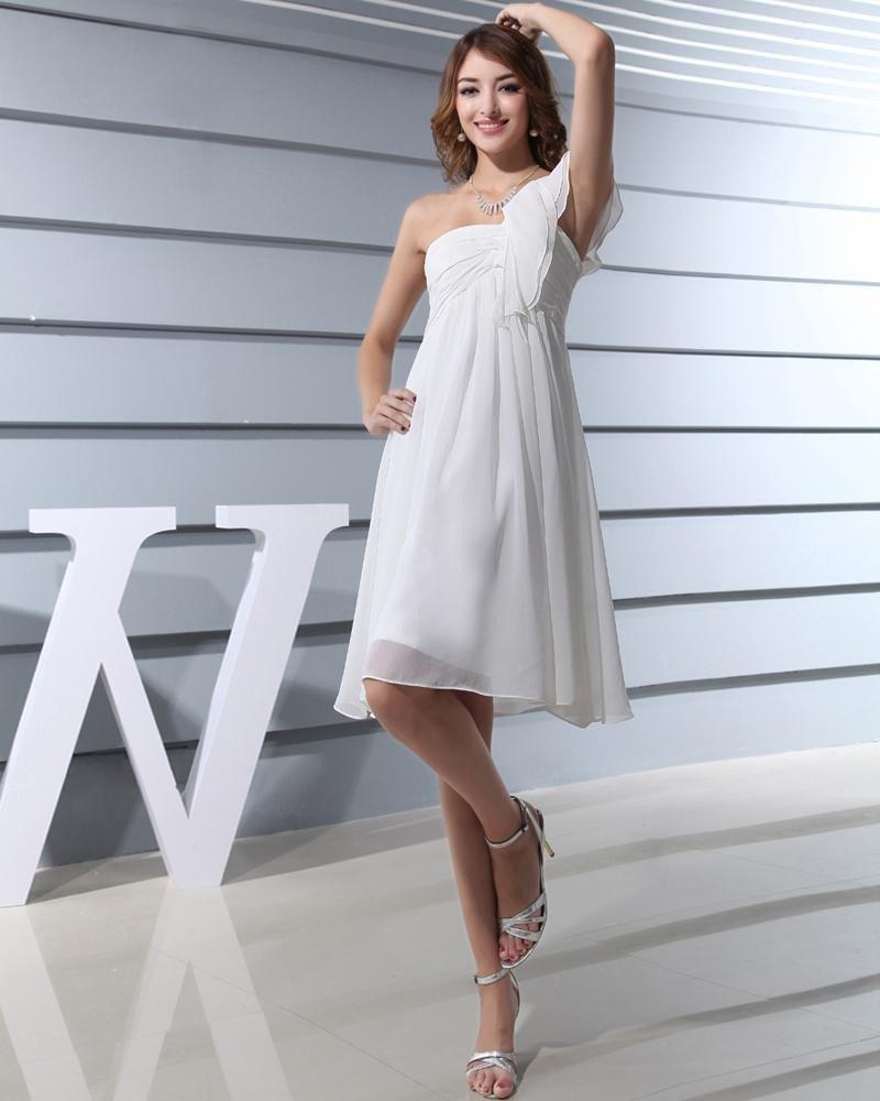 Fashion Chiffon Silk Like Satin Silk Pleated One Shoulder Knee Length Graduation Dress