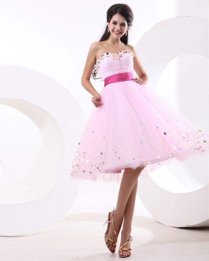 Tulle Pleated Squins Sweetheart Thigh Length Graduation Dress