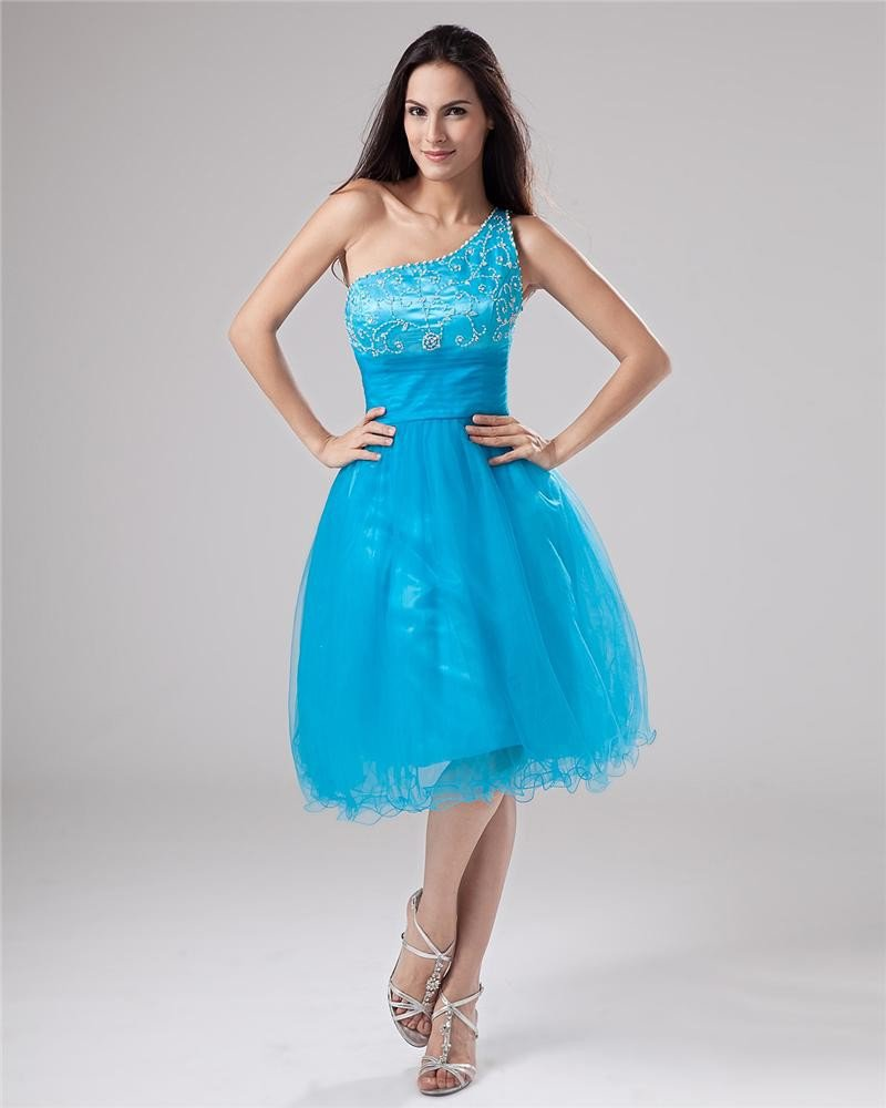 Tulle Satin Sequined Lace Beading Pleat One Shoulder Mini Graduation Dresses