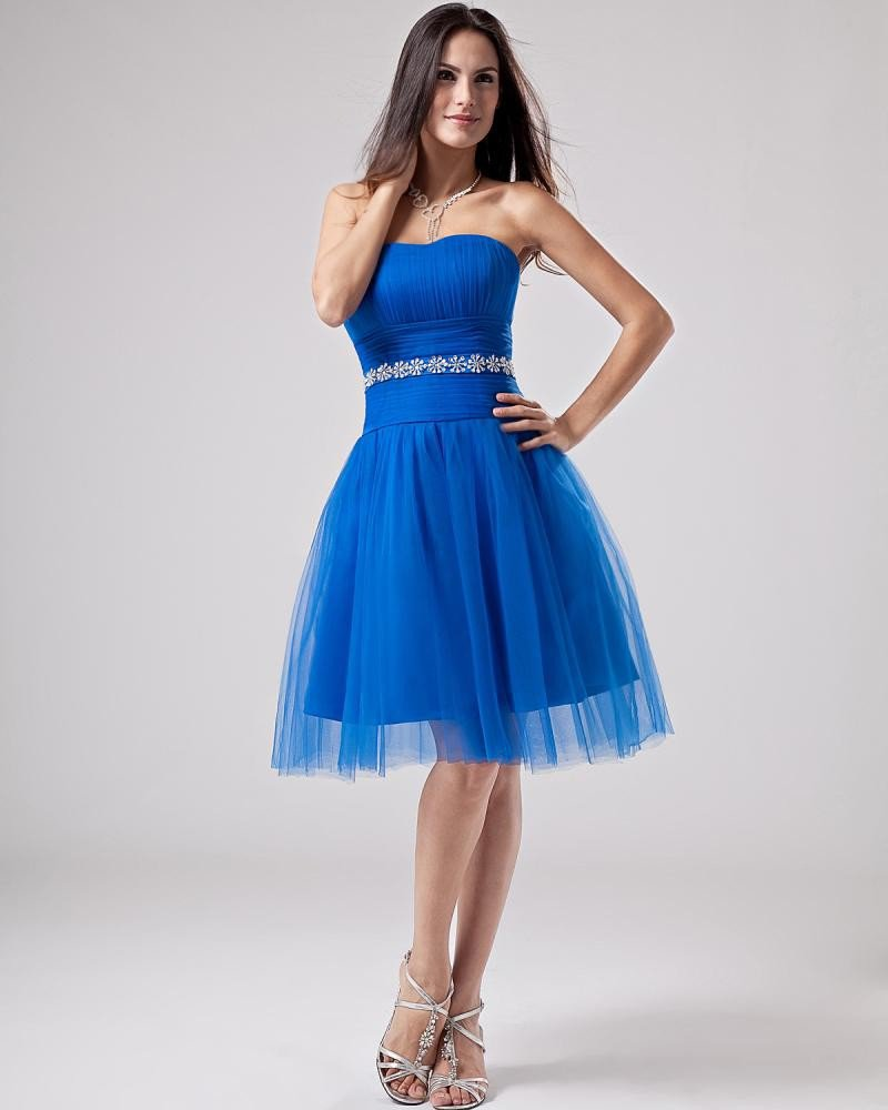 A-line Strapless Mini Short Satin Tulle Graduation Dresses