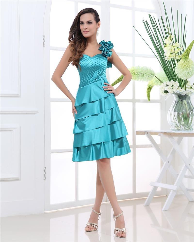 One Shoulder Sleeveless Backless Pleated Flower Knee Length Charmeuse Woman Graduation Dress