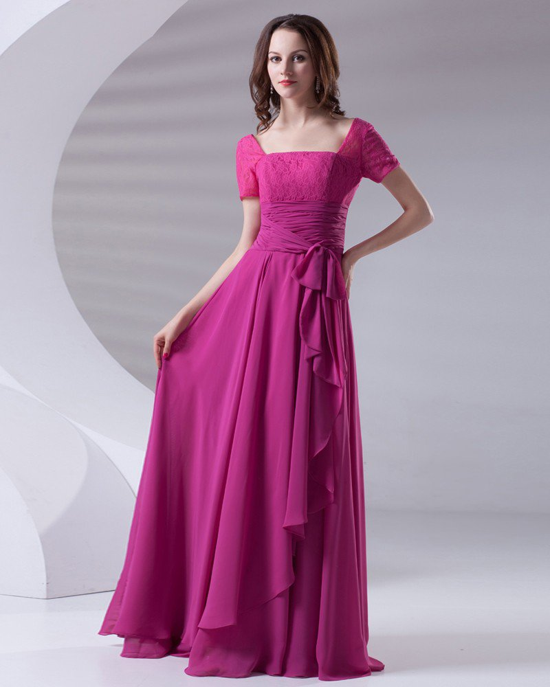 Square Ruffle Bowknot Floor Length Chiffon Lace Woman Evening Party Dress