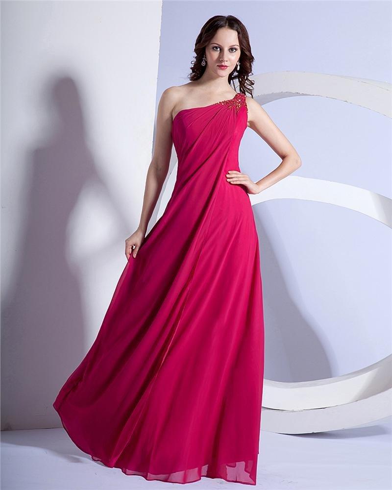 Elegant Sheath Chiffon One-shoulder Beaded Evening Party Dresses