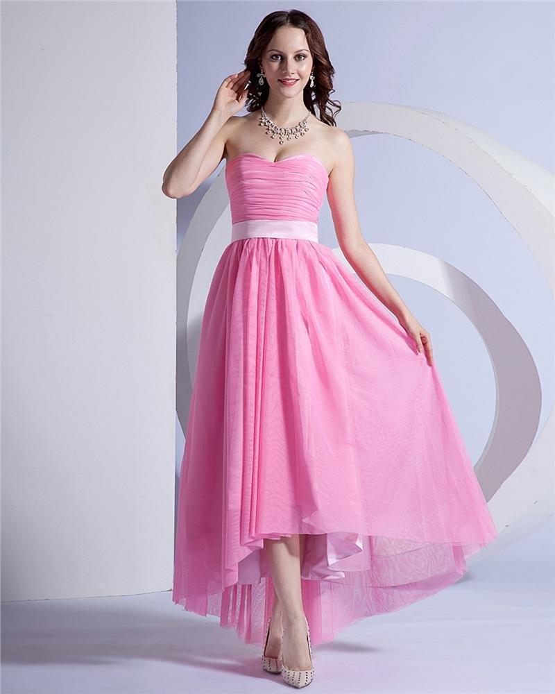 Yarn Strapless Ruffle Asymmetrical-length Celebrity Party Dress