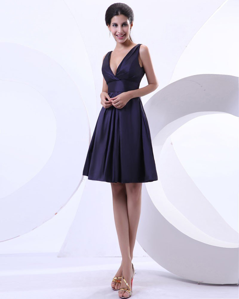 A Line Taffeta Ruffle V Neck Knee Length Evening Party Dresses