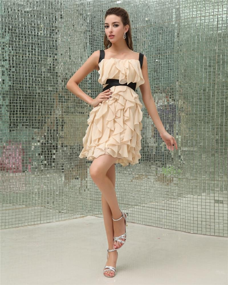 Chiffon Ruffle Square Sleeveless Backless Zipper Mini Party Dress