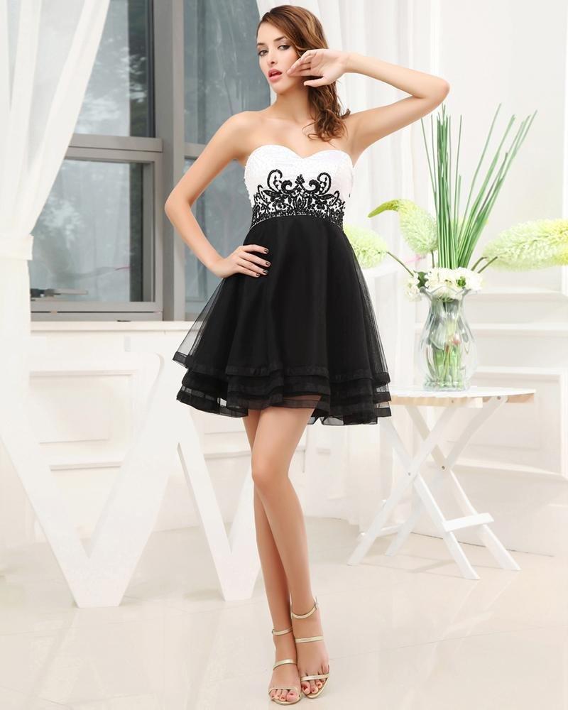 Chiffon Silk Like Satin Silk Gauze Sequins Sweetheart Mini Cocktail Party Dress