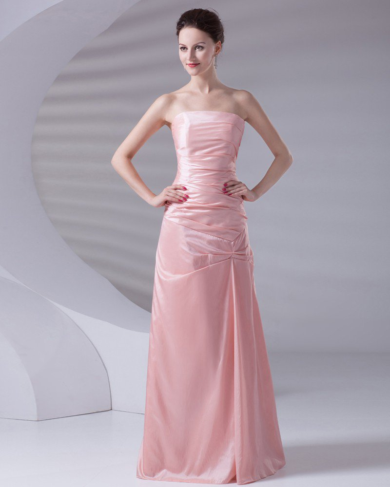 Strapless Floor Length Pleated Taffeta Woman Evening Party Dress