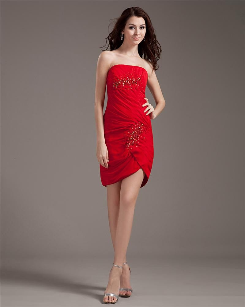 Imitated Silk Fabric Strapless Thigh Length Cocktail Party Dresses