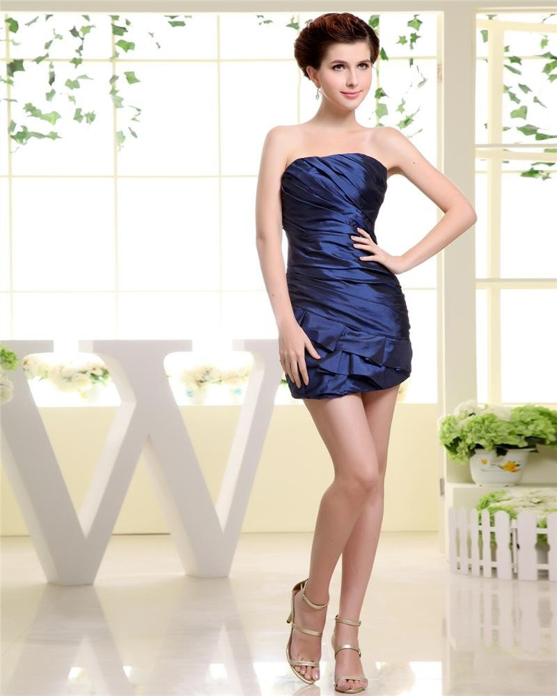 Sheath Sleeveless Mini Strapless Pleat Taffeta Woman Cocktail Party Dress