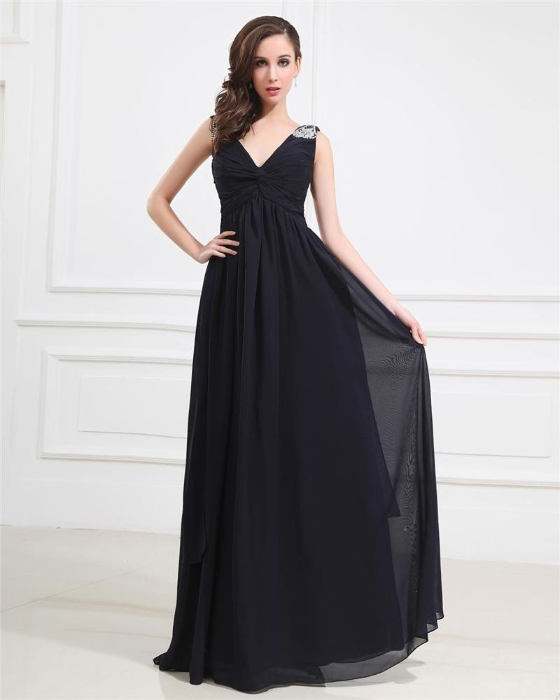 Popular Ruffle Beading Imitated Silk V Neck Floor Length Evening Party Dresses