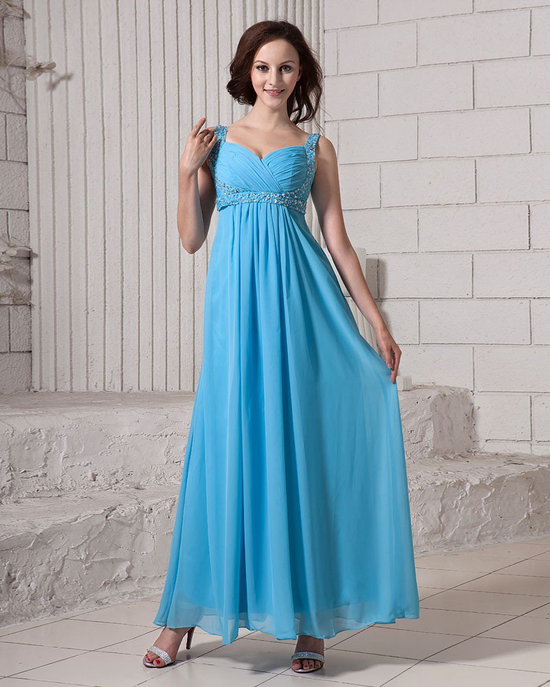 Solid Ruffle Sequins Beading V Neck Ankle Length Chiffon Women Evening Party Dress