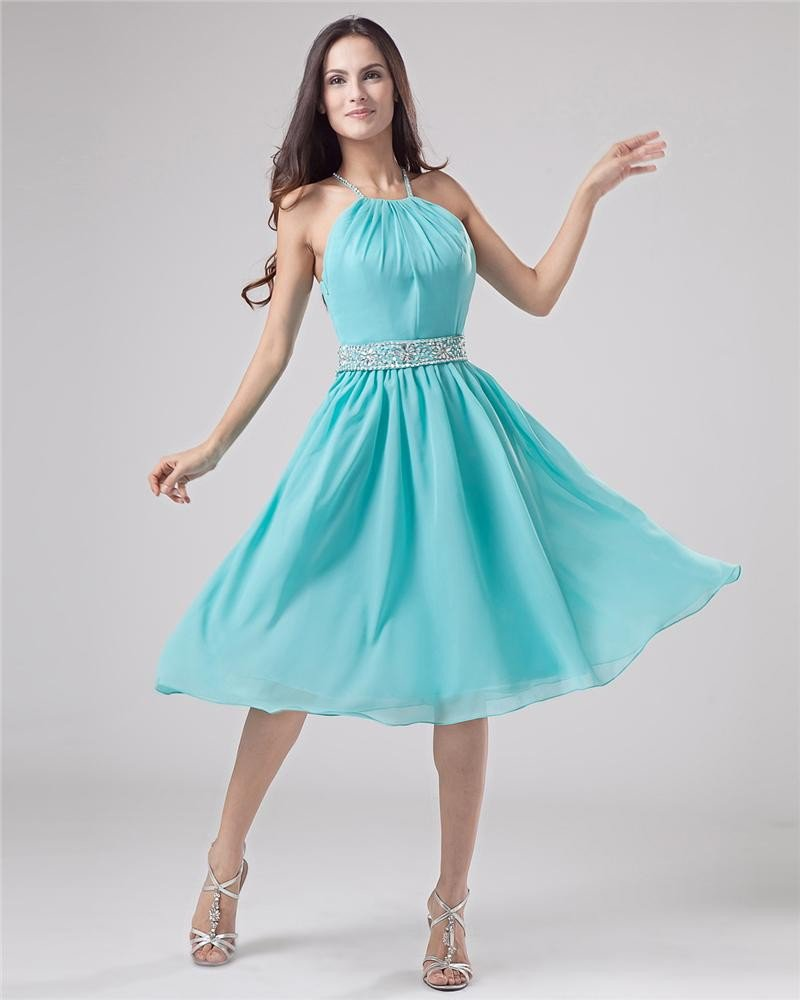 Classic Halter Knee-Length Chiffon Party Party Dress