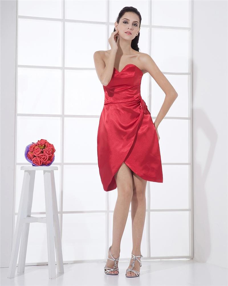 Satin Sweetheart Ruffle Applique Sheath Short Mini Women's Cocktail Party Dress