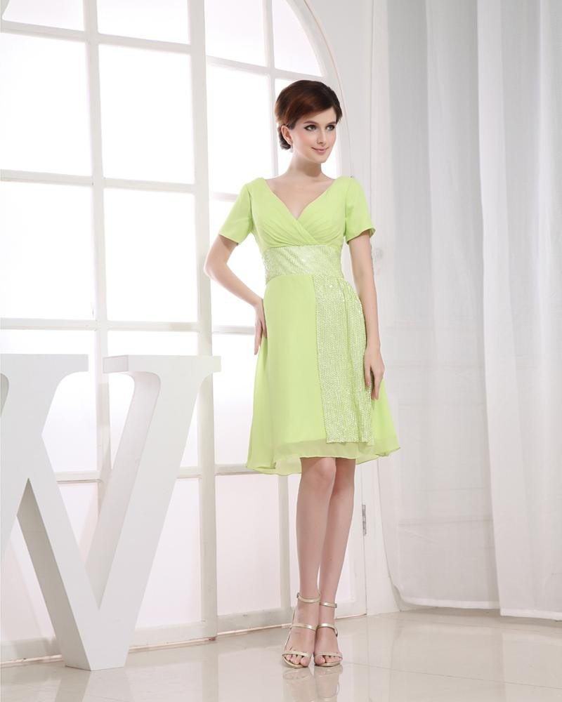 Chiffon Silk Silk Like Satin V Neck Sequins Short Sleeve Zipper Knee Length Cocktail Party Dress