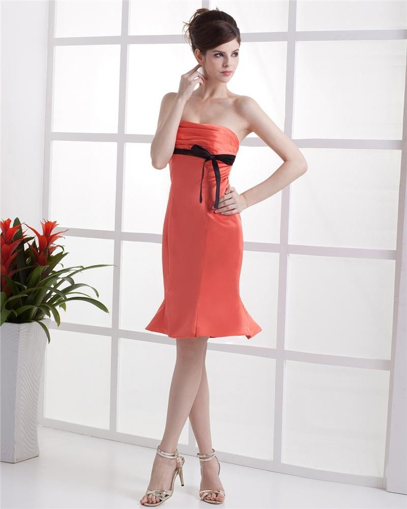 Elegant Sheath Strapless Knee-length Taffeta Evening Party Dress