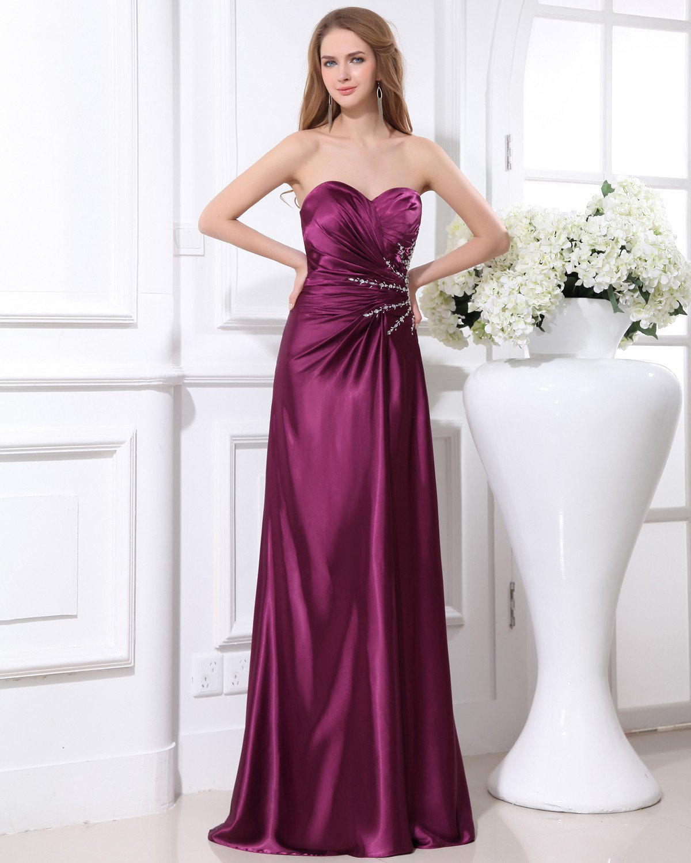 Elegant Beading Ruffles Sweetheart Charmeuse Evening Party Dress