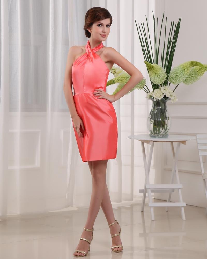 Taffeta Halter Sleeveless Backless Zipper Mini Cocktail Party Dress