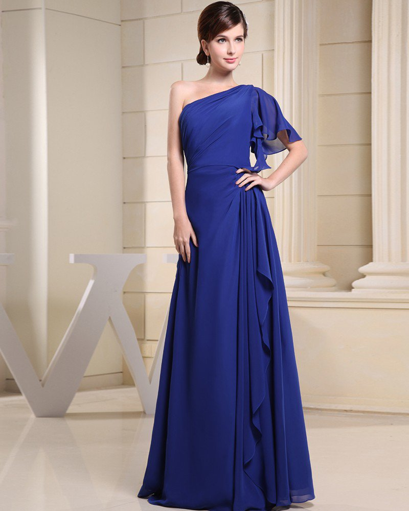 Fashion Chiffon Charmeuse Silk Falbala One Shoulder Floor Length Sleeveless Women Evening Party Dres